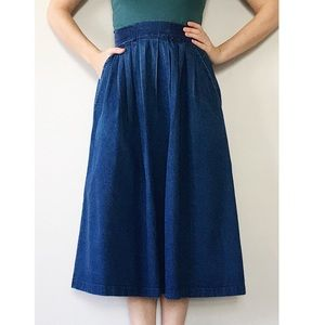 Vintage 80s Full Pleated Denim Skirt